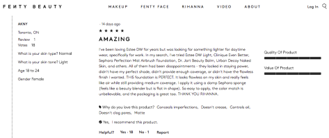 FentyBeauty.com Customer Reviews- Light