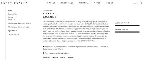 FentyBeauty.com Customer Reviews- Light
