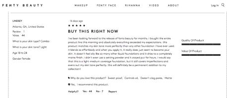 FentyBeauty.com Customer Reviews- Light 2