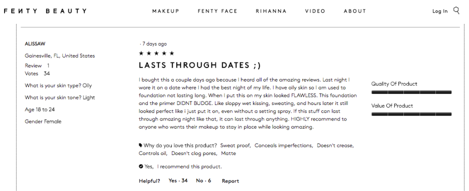 FentyBeauty.com Customer Reviews- Light 3