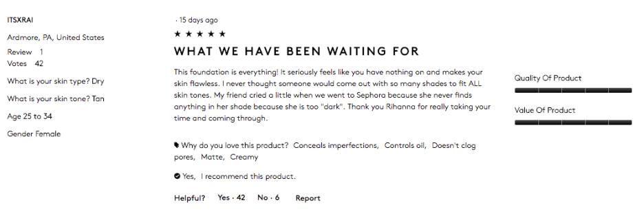 FentyBeauty.com Customer Reviews- Tan 1