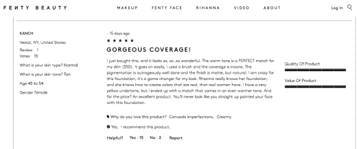 FentyBeauty.com Customer Reviews- Tan 2