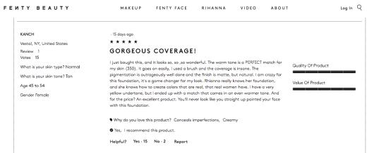FentyBeauty.com Customer Reviews- Tan 2