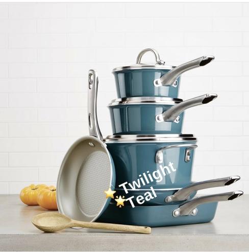 Porcelain Enamel Cookware Set in Twilight Teal